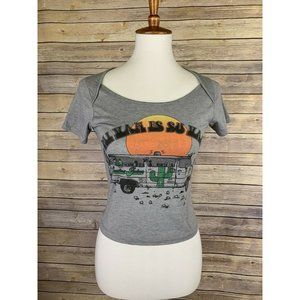 Vans Womens Small Cropped Tee Boho Cactus Van Graphic Gray Stretchy